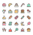 colorful sweet dessert line icons vector image vector image