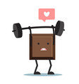 cute cartoon chocolate block lifting weights vector image vector image