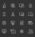 education icon set on black background vector image