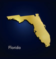 florida map gold texture on blue background vector image