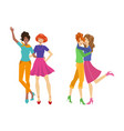 Girls characters hugging set flat isolated vector image