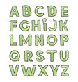 hand drawm cute green alphabet childish playful vector image vector image
