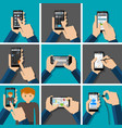 hands holding touchscreen smartphones with vector image vector image