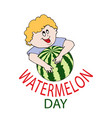 laughing boy and watermelon vector image vector image