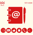 notebook address phone book with email symbol vector image vector image