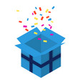 open blue gift box icon isometric style vector image vector image