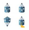 pencil houses logo idea vector image