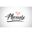 phoenix city design typography with red heart vector image