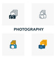 photography icon set four elements in diferent vector image vector image