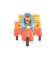 Postman Riding Red Motorbike With Trailer vector image vector image
