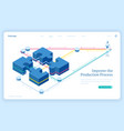 production process improve isometric landing page vector image vector image