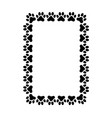rectangular frame made paw prints vector image vector image