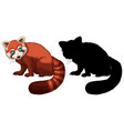 red panda cartoon character its silhouette on vector image vector image