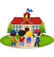 school children going to school vector image vector image