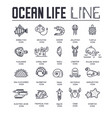 set ocean life thin line icons pictograms vector image