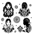Set of beautiful girls in meditation with a vector image vector image