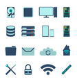 set of computer and datebase icons vector image vector image