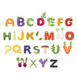 set vegetable and fruit alphabet food style vector image vector image