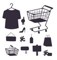 shopping supermarket store shop silhouette vector image vector image