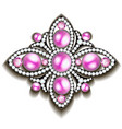silver brooch with pink pearls vector image vector image