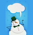 snowman with green bucket and green bow tie vector image vector image