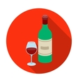 Spanish wine bottle with glass icon in flat style vector image
