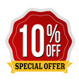 special offer 10 off label or sticker vector image