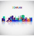 tehran skyline silhouette in colorful geometric vector image vector image
