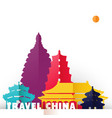 travel china paper cut world monuments vector image vector image