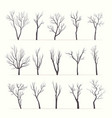 trees with bare branches silhouette set vector image vector image