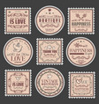 vintage romantic colored stamps set vector image vector image