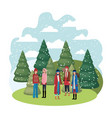women with winter clothes and winter pines avatar vector image vector image
