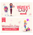 womens day special offer 60 off advertisement vector image vector image