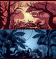 deep tropical jungle and greenwood backgrounds vector image