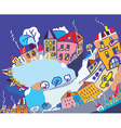 Christmas card with funny town vector image