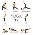 8 yoga poses or asana posture in flat design vector image