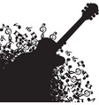 abstract black background with guitar and notes vector image vector image