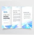 abstract blue triangle trifold brochure design vector image