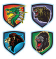 animals esports logo set dragon lion bear gorilla vector image vector image