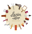 barber shop accessories on circle frame vector image vector image