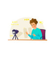 blogger make interview recording video on his vector image