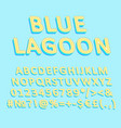 blue lagoon vintage 3d alphabet set vector image