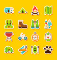 camping hiking stickers vector image vector image