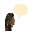 cartoon female face profile with speech bubble vector image vector image