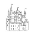 castle landmark sketch medieval palace building vector image