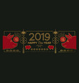 chinese new year of pig 2019 gold line web banner vector image vector image