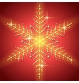 Christmas snowflake on a red background vector image