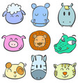 collection animal head colorful doodles vector image vector image