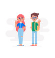 couple of young trendy teenagers in casual clothes vector image