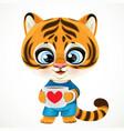 cute cartoon tiger cub holding cup coffee vector image vector image